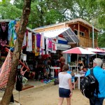 Gift shops line the beach